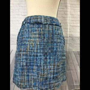 Loft Twill Multi Blue Color Skirt
